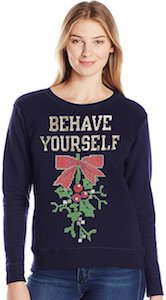 Women's Mistletoe Behave Yourself Christmas Sweater