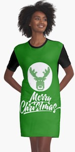 Merry Christmas And A Moose T-Shirt Dress