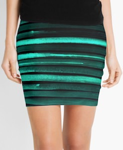 Green Striped Mini Skirt