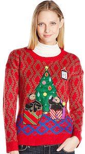 Christmas Tree And Sloths And Lights Christmas Sweater