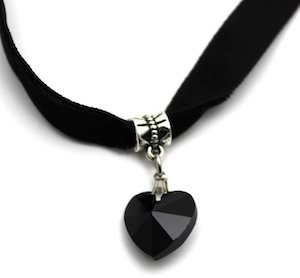 Black Velvet Choker Necklace With Black Heart Pendant