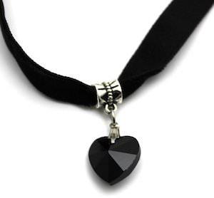 Black Velvet Choker Necklace With Black Heart Pendant