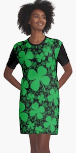 St Patrick's Day Shamrock Field T-Shirt Dress