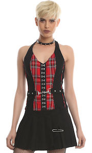 Red Plaid And Black Halter Dress
