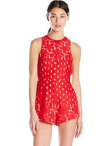 Women's Red Sleeveless Romper