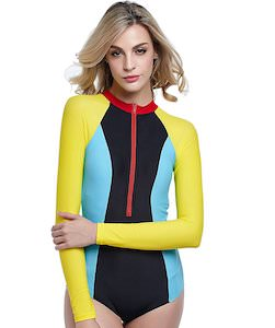 Women's Long Sleeve High Neck Color Block Swimsuit
