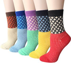 5 Pairs Of Vintage Style Women's Winter Socks