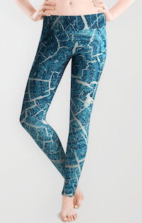 Blue Wood Pattern Leggings