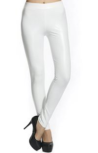 women's White Faux Leather Leggings