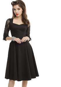 women's Black Fit And Flare Dress With Lace Sleeves
