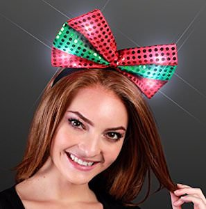 Christmas Bow Headband With Lights