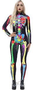 women's colorful skeleton costume