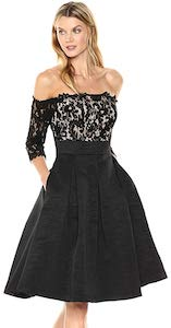 Black And Lace Off Shoulder Dress