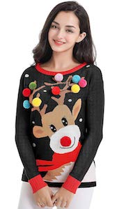 Reindeer Pom Pom Christmas Sweater