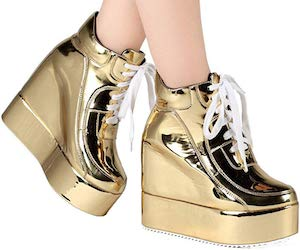 Shiny High Heel Platform Sneakers