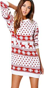 White And Red Christmas Sweater Dress