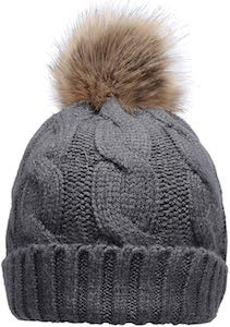 Knit Beanie Hat With Faux Fur Pompom