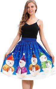 Women's Festive Snowman Skirt