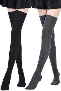 2 Pairs Of Thigh High Socks