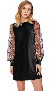 Velvet Dress With Floral Sleeves