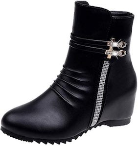 Black Low Boots With Bling