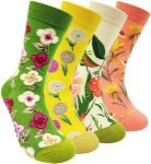 4 pairs of Floral Socks for women