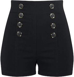 Black High Waist Shorts With Buttons
