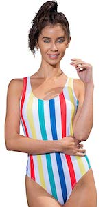 women's Colored Striped Swimsuit