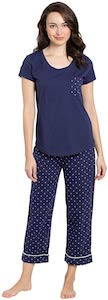 Blue And Dots Capri Pajama Set