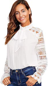 Lace Sleeve And Ruffle Collar Top