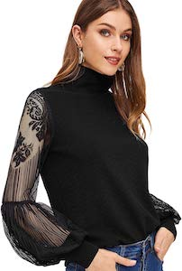 Women's Top With Long Laced Sleeves
