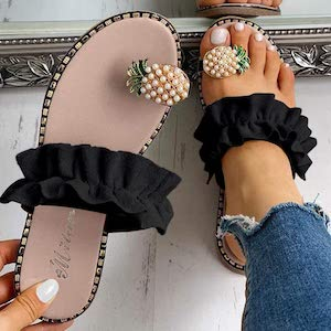 Pineapple And Ruffle Sandals