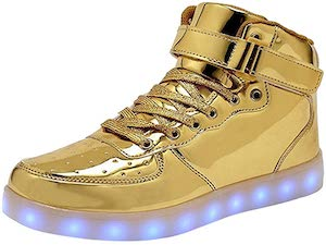 Golden sneakers with lights