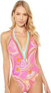 Pink Floral V-Plunge Swimsuit