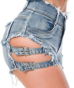 Ripped Strapped Denim Shorts