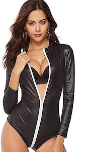 Women's Sexy Leather Look Jumpsuit With Zipper