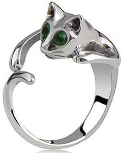cat shaped ring with rhinestones as eyes