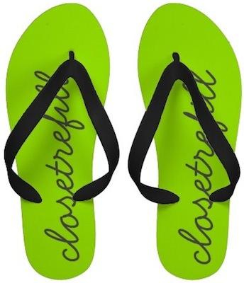 Neon green monogram flip flops