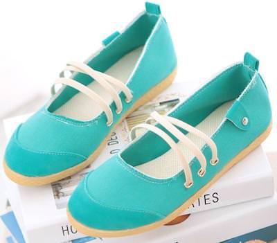 Green Sneaker Style Flats