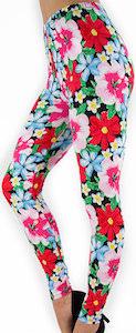 Red flower design leggings