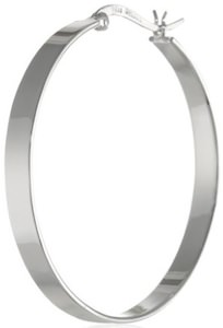 Flat Silver Hoop Earrings