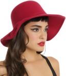 women's red felt floppy hat