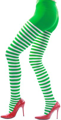 Green And White Striped Nylon Tights