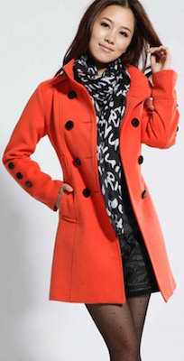 Orange Wool Blend Double Breasted Trench Coat