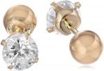 Cubic Zirconia Reversible 14k Gold Stud Earrings