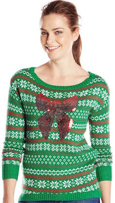 Green Sequin Bow Christmas Sweater