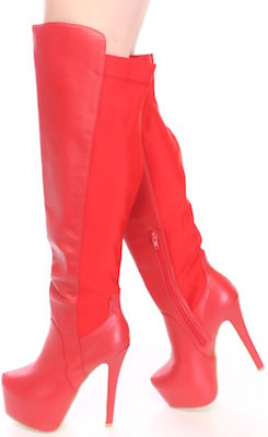 Red Faux Leather Knee High Platform Boots