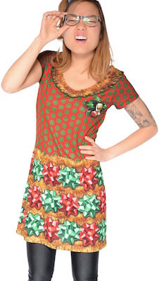 women's Bow Ugly Christmas Dress