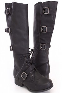 Black Lace Up Strappy Combat Boots Faux Leather