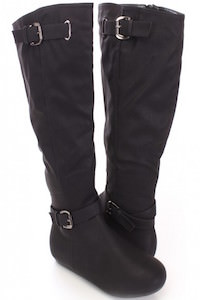 Black Knee High Strappy Boots Faux Leather